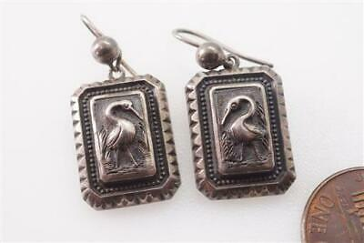 ANTIQUE VICTORIAN ENGLISH SILVER AESTHETIC MOVEMENT STORK EARRINGS c1880