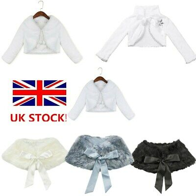 UK Girls Faux Fur Long Sleeve Boleros Wedding Birthday Party Flower Girl Dress