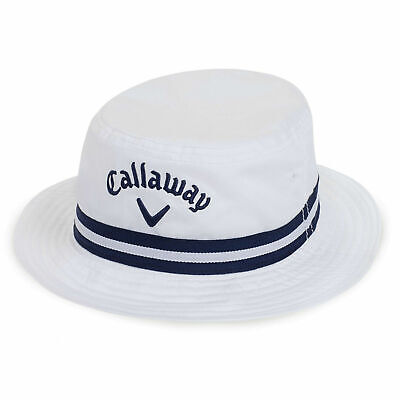New Callaway Golf Weather Series Bucket Golf Hat White Navy Large/X-Large L/XL