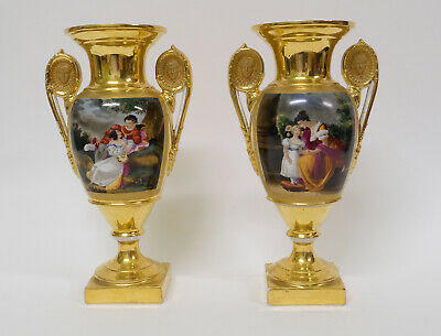 Antique Pair Early 19thC French Empire Paris Gilt Porcelain Vases c1800/1830