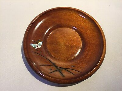 Japanese Lacquer Saucer Drink Coaster Vtg Wooden Chataku Brown butterfly