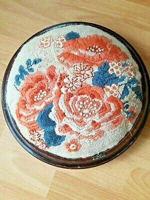 Vintage Tapestry Footstool Needs Some Tlc