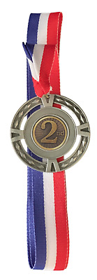 "2.25/"" ANTIQUE SILVER 2nd PLACE MEDALLION  RED//WHITE//BLUE RIBBON FREE ENGRAVING"
