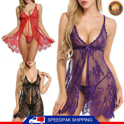 Women Sexy Lace Lingerie Babydoll Cosplay G-string Underwear Nightgown Dress HOT