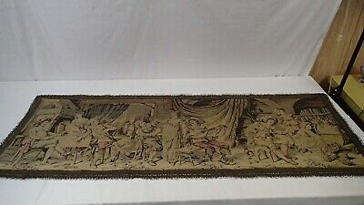 """Vintage French Tapestry Pub/bar scene, approx. 60"""" x 22"""""""