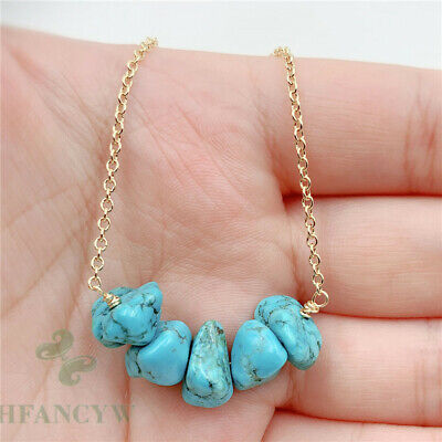 13-30mm Natural Turquoise Pendant Necklace 18 inch Chain Cultured Party Jewelry