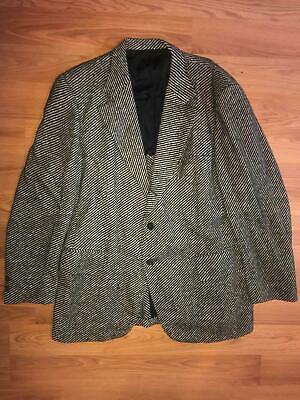 Vtg 40S 50S Mens Large Wool Belt Back Black White Blazer Jacket