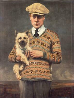 """oil painting handpainted on canvas""""Prince of Wales  with his dog""""@15774"""