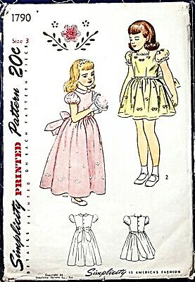UNCUT Vintage 1940's Sewing Pattern Girls' Dress Sz 3 Simplicity 1790