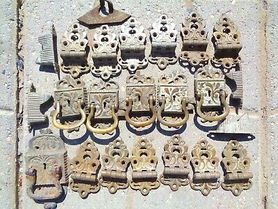 22 pcs Antique 1800s brass hardware ice box chests multi use ornate original **