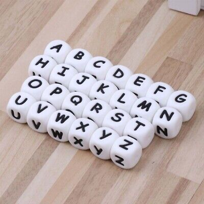 12mm silicone English Letters Beads DIY Name Teether Baby Pacifier Clips Beads