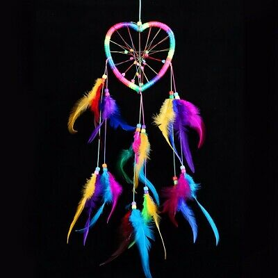 Dream Catcher Heart Colorful Handmade Wall Hanging Decor Ornament Feathers