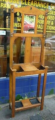 Nice Small Size Antique Victorian Oak Hallstand For Hats Coats Umbrella Etc