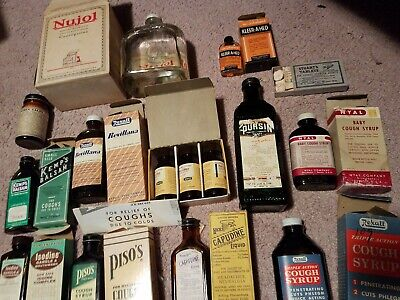 15 Antique vintage Quack Medicines, tonics , balsam, salts tabs  Contents, boxes