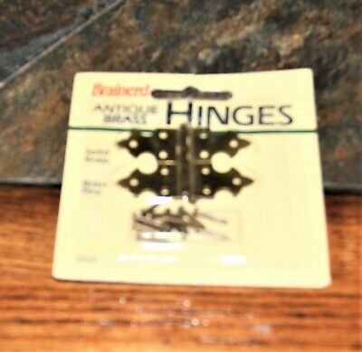 "2 Decorative Jewelry Box Hinges Vintage Brainerd solid BRASS IN PKG. 1.5"" x 1/2"""