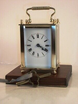 Antique MINIATURE brass carriage clock & key. Restored and serviced August 2019