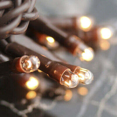 Light Set String Strand - Clear Teeny Rice Bulbs - 20 CT - Brown Cord