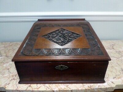 Antique Wooden Desk Top Stationery Box With Carved Slope