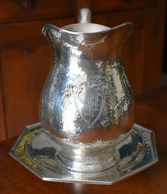 Antique English Arts & Crafts Sheffield Silver Plate Hammered Pitcher Underplate