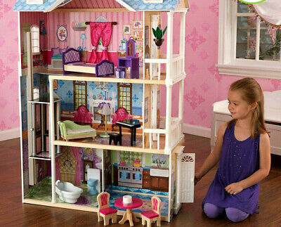 Large Wooden Barbie Doll Dream House Furniture Girls Playhouse Elevator 14 piece