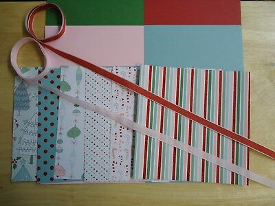 Stampin Up CANDY CANE CHRISTMAS SPECIALTY 6 x 6 Designer Paper Card Kit Ribbon