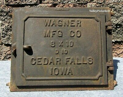 Antique Cast Iron Wagner Cedar Falls Iowa Fireplace Chimney Clean Out Door Frame