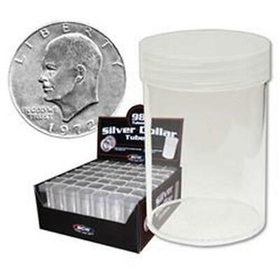 10 BCW Round Clear Plastic Large Dollar Coin Tubes with Screw on Caps