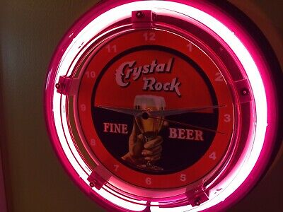Crystal Rock Beer Bar Advertising Man Cave Neon Wall Clock Sign
