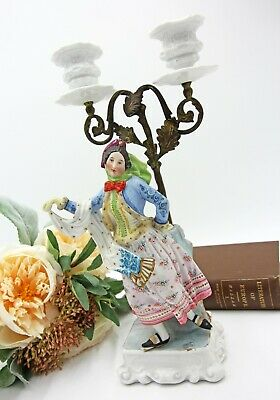 Antique European Bisque Porcelain Figurine Candelabra, 1800s
