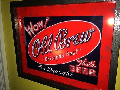 Old brew Chicago Beer Bar Tavern Man Cave Lighted Advertising Sign