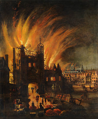 """perfect 24x36 oil painting handpainted on canvas """"The Great Fire of London""""N4132"""