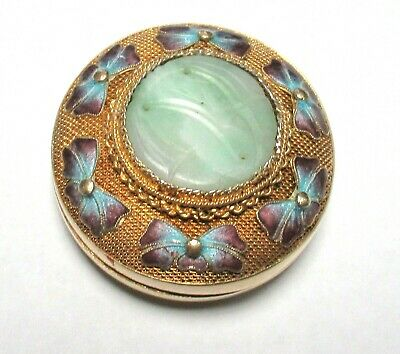 Small Chinese Silver Cloisonne Enamel Green Carved Jade Pill Jar Box