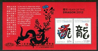 2012 Christmas Island Year of The Dragon MUH Mini Sheet - Beijing International