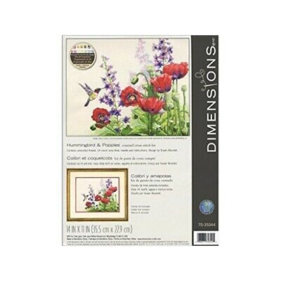 Dimensions Hummingbird And Poppies Counted Cross Stitch Kit, Multi-colour - Kit