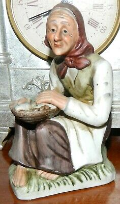 VINTAGE Porcelain Bisque Hand Painted Old Fisherwoman Figurine