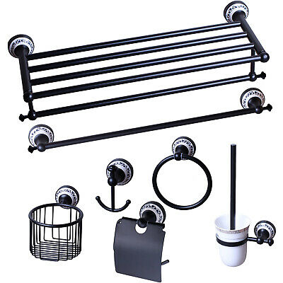Wall Mounted Brass Bathroom Black Towel Ring/Basket Shelf Rack Hook Accessory