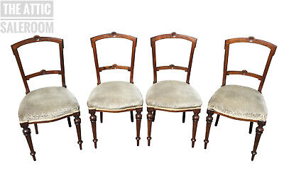 Wonderful Matching Set of 4x Antique Victorian Sheraton Style Dining Chairs