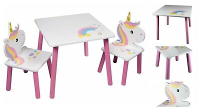 Children Unicorn Table and Two Chairs Set Kids Girl Pink White Colours Wooden