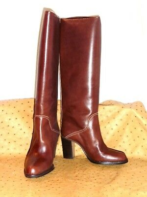 Superb Boots Horse Rider Brown Leather Vintage 70 New T.34 Old Stock New