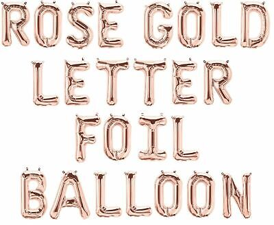 Rose Gold Alphabet Letter & Number Foil Balloons PERSONALISED BIRTHDAY NAME