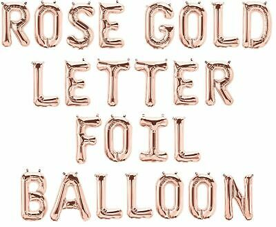 Rose Gold PERSONALISED BIRTHDAY NAME FOIL BALLOONS + FREE 10m Ribbon & Straw