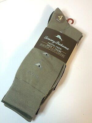 Tommy Bahama Casual Dress Crew Mens Socks 4 Pairs Pack Tan Brown Palm Drinks New