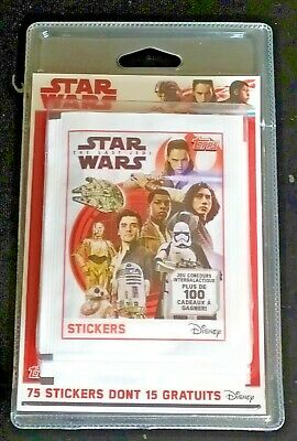 Lot  75 STICKERS TOPPS STYLE  PANINI Star Wars Les derniers Jedi NEUF