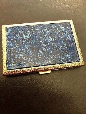 Vintage Makeup Compact-Made In Switzerland/Blue Mica Stone w Gold/ 1940s Or 1950
