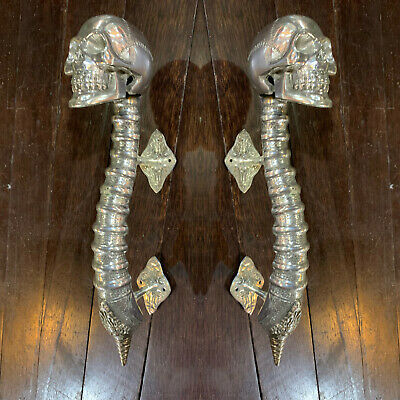 "2 SKULL handle DOOR PULL spine BRASS old vintage style silver plated 13 "" long B"