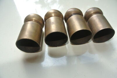 4 small aged ROD ENDS solid brass vintage old style new capping for timber B
