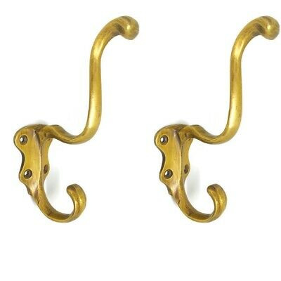 "2 COAT HOOKS door solid brass furniture vintage age old style heavy 5 "" patina B"