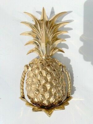 "PINEAPPLE heavy front Door Knocker SOLID BRASS vintage old POLISHED 10"" B"