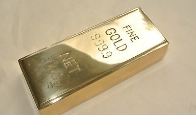 "Fake fine GOLD bullion Bar paper weight 6"" prop heavy brass polished 999.9 B"
