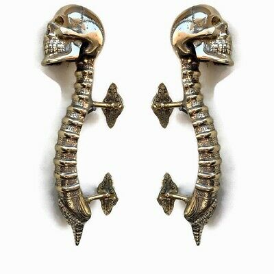 "2 large SKULL handle DOOR PULL spine 13"" POLISHED BRASS old vintage style 33 cmB"